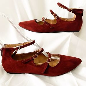 """REPORT - Red  """"Fauna"""" Three Strap Buckle Flats 8M"""